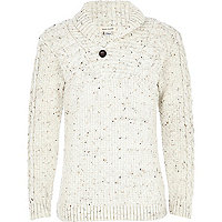 Boys cream flecked knitted jumper