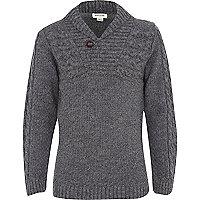 Boys grey shawl neck knit jumper