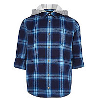 Boys blue check jersey hood shirt