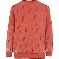 Boys orange lightening print sweatshirt