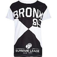 Boys black Bronx print mesh t-shirt