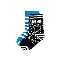 Mini boys black doodle 2 pack socks
