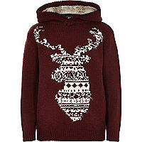 Boys red hooded stag christmas jumper
