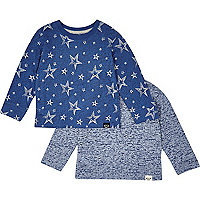 Mini boys blue star t-shirt 2 pack