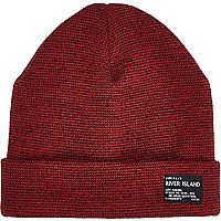 Boys red turn up beanie hat
