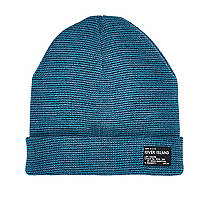 Boys blue turn up beanie hat