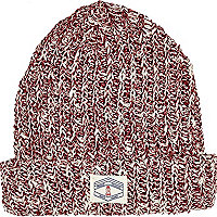 Boys red twist yarn turn up beanie hat