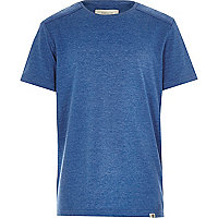 Boys blue marl shoulder patch t-shirt