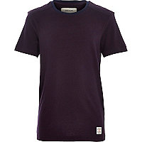 Boys purple shoulder patch t-shirt