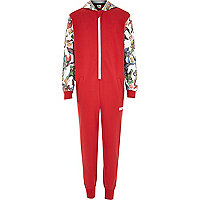Boys red Marvel print all in one