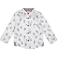 Mini boys white monkey print shirt