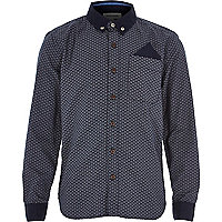 Boys navy half moon print shirt