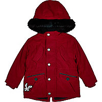 Mini boys red faux fur hood parka coat