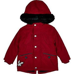 Mini boys red faux fur hood parka coat