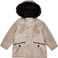 Mini boys stone faux fur lined hood parka.