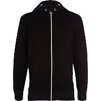 Boys black quilted hoody