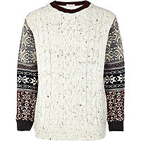 Boys cream fairisle sleeve jumper