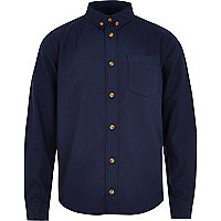 Boys navy button down Oxford shirt