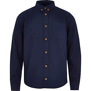 Boys navy button down Oxford shirt