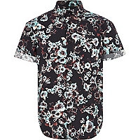 Boys black floral print shirt