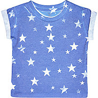 Mini boys blue star print t-shirt