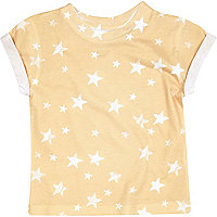 Mini boys yellow star print t-shirt