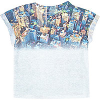 Mini boys white city fade print t-shirt