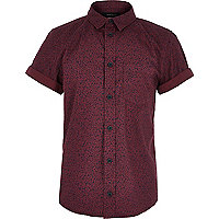 Boys dark red ditsy print shirt