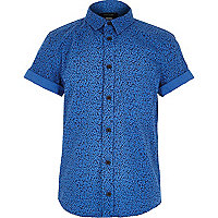 Boys blue ditsy print shirt