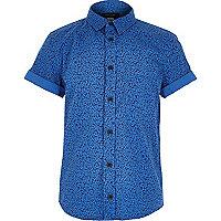 Boys blue ditsy print shirt