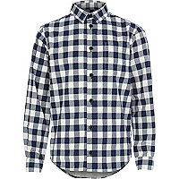 Boys navy check shirt