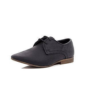 Boys black waxy smart shoe