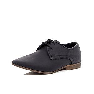 Boys black waxy smart shoe