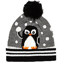 Boys grey penguin beanie hat