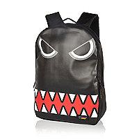 Boys black monster face backpack