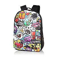 Boys black graffiti backpack