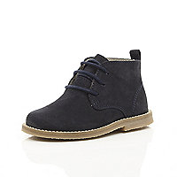 Mini boys navy desert boot