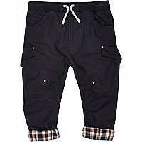 Mini boys navy woven chester trousers
