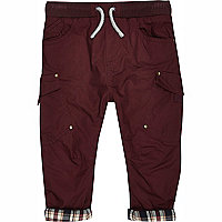 Mini boys red woven chester trousers