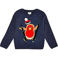 Mini boys navy squeaking robin jumper