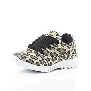 Mini boys brown leopard print trainers