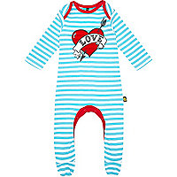Mini boys blue stripe love heart sleepsuit