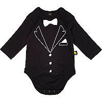Mini boys black tuxedo bodysuit