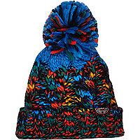 Boys black chunky knit pom beanie