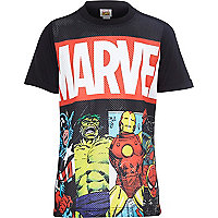 Boys black Marvel print mesh t-shirt