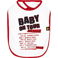 Mini boys white baby on tour bib
