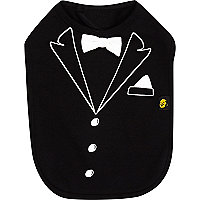 Mini boys black tuxedo bib