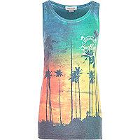 Boys blue Santa Monica palm print vest