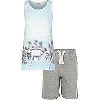 Boys blue LA vest and short set