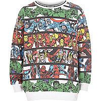 Boys white Marvel stripe print sweatshirt